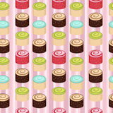 Seamless colorful cakes pattern Royalty Free Stock Image