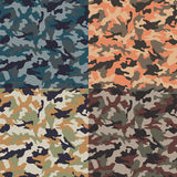 Seamless colorful camouflage pattern. Set Royalty Free Stock Photo