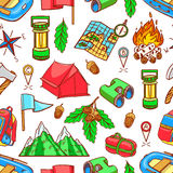Seamless colorful camping equipments Stock Photography