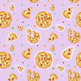 Seamless colorful cartoon pizza texture vector illustration