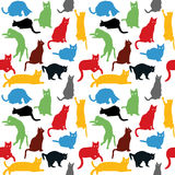 Seamless with colorful cats silhouettes, background for kids Stock Image