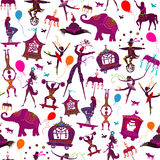 Seamless colorful circus characters. Seamless pattern - colorful circus with magician, elephant, dancer, acrobat and various fun characters Stock Images