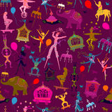 Seamless colorful circus characters. Seamless pattern - colorful circus with magician, elephant, dancer, acrobat and various fun characters Royalty Free Stock Image