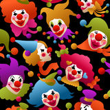 Seamless colorful clown portraits Stock Photography