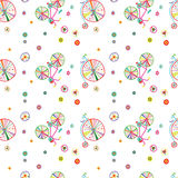 Seamless colorful cute doodle bicycles vector pattern Stock Photography