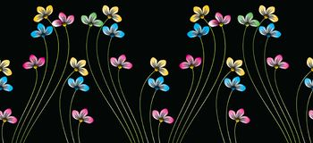 Seamless colorful cute floral border on black background royalty free illustration