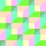 Seamless Colorful 3d Cube Pattern. Vector Wrapping Paper   Royalty Free Stock Images