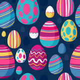 Seamless colorful easter eggs pattern. Blue back. Royalty Free Stock Images