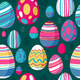 Seamless colorful easter eggs pattern. Green back. Stock Images