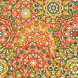 Seamless colorful ethnic pattern with mandalas. Stock Photos