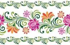 Seamless colorful fancy floral border vector illustration