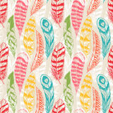 Seamless colorful feathers. Beautiful seamless background with different color feathers Royalty Free Stock Photo