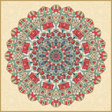 Seamless colorful floral hand drawn pattern with mandala.  Stock Images