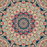 Seamless colorful floral hand drawn pattern with mandala.  Royalty Free Stock Photos