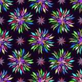 Seamless colorful floral pattern background. Rainbow texture for textile, wallpaper, decoration, fabric, scrap paper. Stock Image