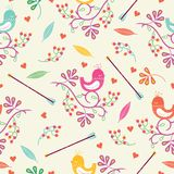 Seamless colorful floral pattern with birds Stock Photos