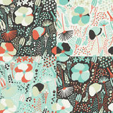 Seamless colorful floral pattern. Set of colorful variations. Stock Photos