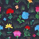 Seamless colorful  flower pattern on black background Stock Photography