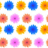 Seamless Colorful Flower Pattern. Spring Pink Blue Yellow Flowers  on White Background. Seamless Colorful Flower Pattern Royalty Free Stock Photos