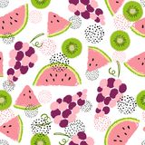 Seamless fruit pattern. Vector background with juicy fruits. Royalty Free Stock Images