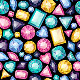 Seamless colorful gemstones background on black. Royalty Free Stock Photography