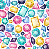 Seamless colorful gemstones background on white. Royalty Free Stock Images