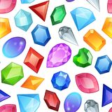 Seamless colorful gemstones pattern. Diamonds and gems elements. Abstract seamless background with glowing colorful. Seamless colorful gemstones vector pattern stock illustration