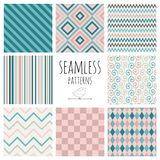 Seamless Colorful geometric background set. Stock Photos
