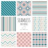 Seamless Colorful geometric background set. Stock Photos