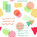 Seamless colorful geometric pattern background inspired by memphis style. Illustration with triangle, square, circle for textile design, fashion poster Royalty Free Stock Photo