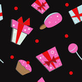 Seamless of colorful  gift boxes. And sweets Royalty Free Stock Photo