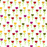 Seamless colorful Heart flowers Royalty Free Stock Photo