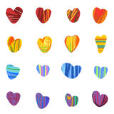 Seamless colorful hearts background. Seamless pattern of multicolored hearts on white background Stock Photography