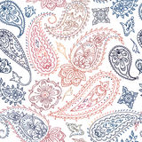 Seamless colorful indian floral paisley pattern Stock Photography