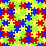 Seamless colorful jigsaw puzzles background. 3D illustration Stock Photos