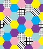Seamless colorful memphis style pattern. With colorful geometrical shapes Royalty Free Stock Image