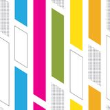 Seamless colorful memphis style pattern. Seamless memphis style pattern with colorful geometrical shapes, dots and white background Royalty Free Stock Photography