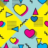 Seamless colorful memphis style pattern. With colorful geometrical shapes and yellow and blue background Stock Photo