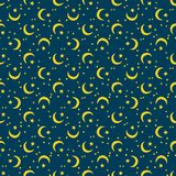 Seamless colorful moons and stars pattern vector illustration. Seamless colorful pattern. Vector background with moons and stars Stock Images