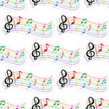 Seamless colorful music notes pattern. Seamless colorful curved staves, notes and treble clef background pattern with shadows for music and art concept design Royalty Free Stock Photography