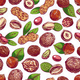 Seamless colorful nuts Royalty Free Stock Image