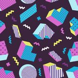 Seamless colorful old school geometric dark background pattern, memphis design style. Vector illustration Stock Photography