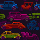 Seamless colorful old timer cars and bikes. Seamless illustration of colorful x-stitch textured old-timer cars and bicycles in traffic Stock Photos