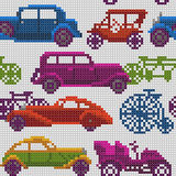 Seamless colorful old timer cars and bikes. Seamless illustration of colorful x-stitch textured old-timer cars and bicycles in traffic Stock Photo