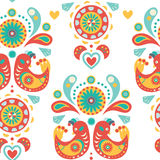Seamless Colorful ornament with birds Royalty Free Stock Image