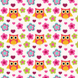 Seamless colorful owl pattern for kids Stock Images