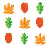 Seamless colorful painted leaves pattern on white background stock illustration