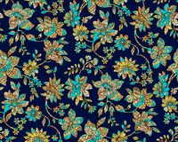 Seamless colorful paisley damask with navy background royalty free illustration