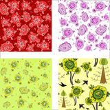 Seamless colorful pattern with abstract leafs and flowers Stock Photography