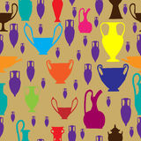 Seamless colorful pattern with amphora and ancient pottery. For shirts and wrapping paper Royalty Free Stock Images